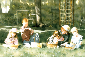 The Children at Easter a Watercolor Painting by J. L. Fleckenstein