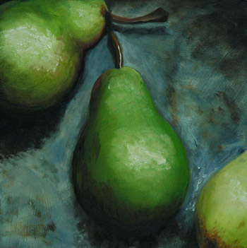 Three Pear on Window Sill Oil Painting by J. L. Fleckenstein