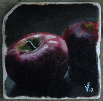 Apples Painting on Marble Tile an oil painting by J L Fleckenstein