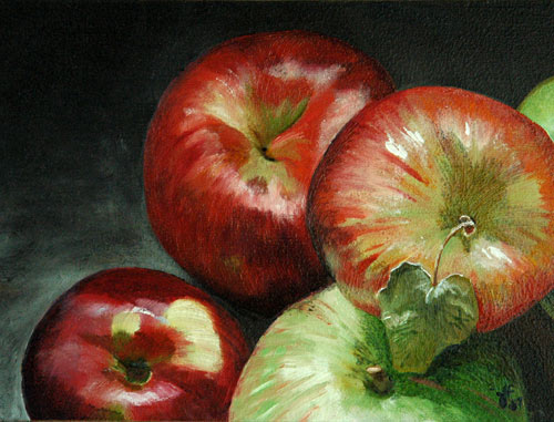 Group of Apples An Oil Painting by J L Fleckenstein