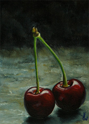 Two Red Cherries an Oil Painting by J L Fleckenstein