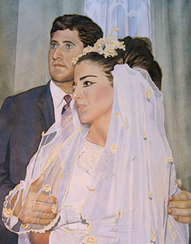 Watercolor portrait from a 1960s era wedding photo by J L Fleckenstein